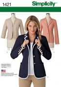 1421 Misses' Unlined Jacket with Collar & Finishing Variations