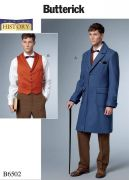 B6502 Men's Single-Breasted Lined Coat and Vest with Back Belt