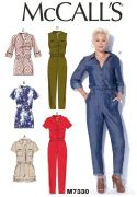 M7330 Misses' Button-Up Utility Jumpsuits and Rompers