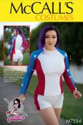 M7554 Paneled, Raglan-Sleeve Tops, Stirrup Leggings, and Shorts by Yaya Han