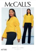 M7580 Misses' Puff Raglan-Sleeve Top and Straight-Leg Pants with Yoke