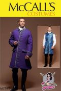 M7585 Men's Three-Quarter-Length Coat and Vest Costume by Yaya Han