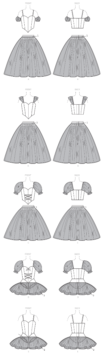 M7615 Misses' Ballet Costumes with Boned Bodice, Skirt, and Sleeve Variations