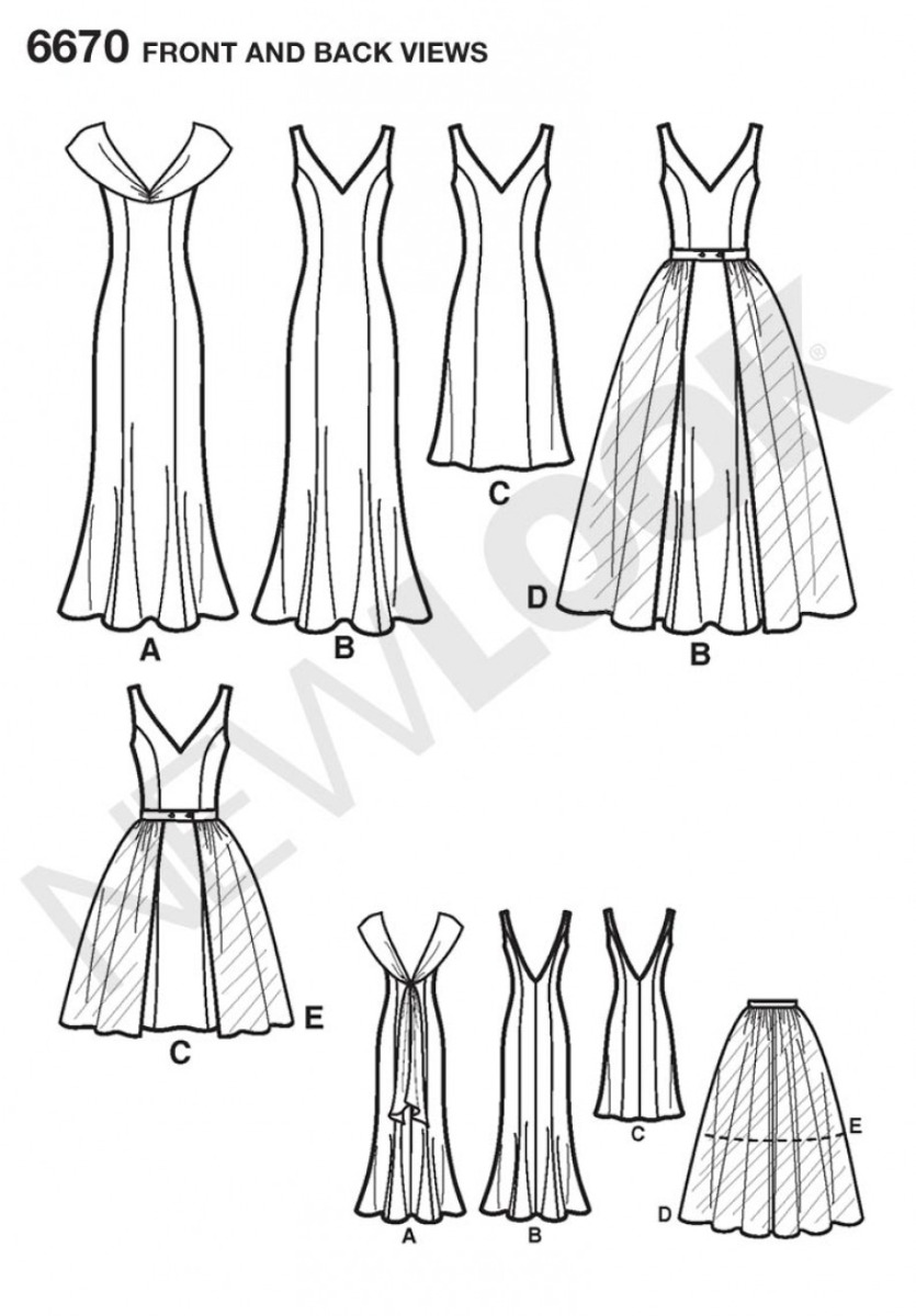 6670 Misses Dresses with Detachable Overskirt