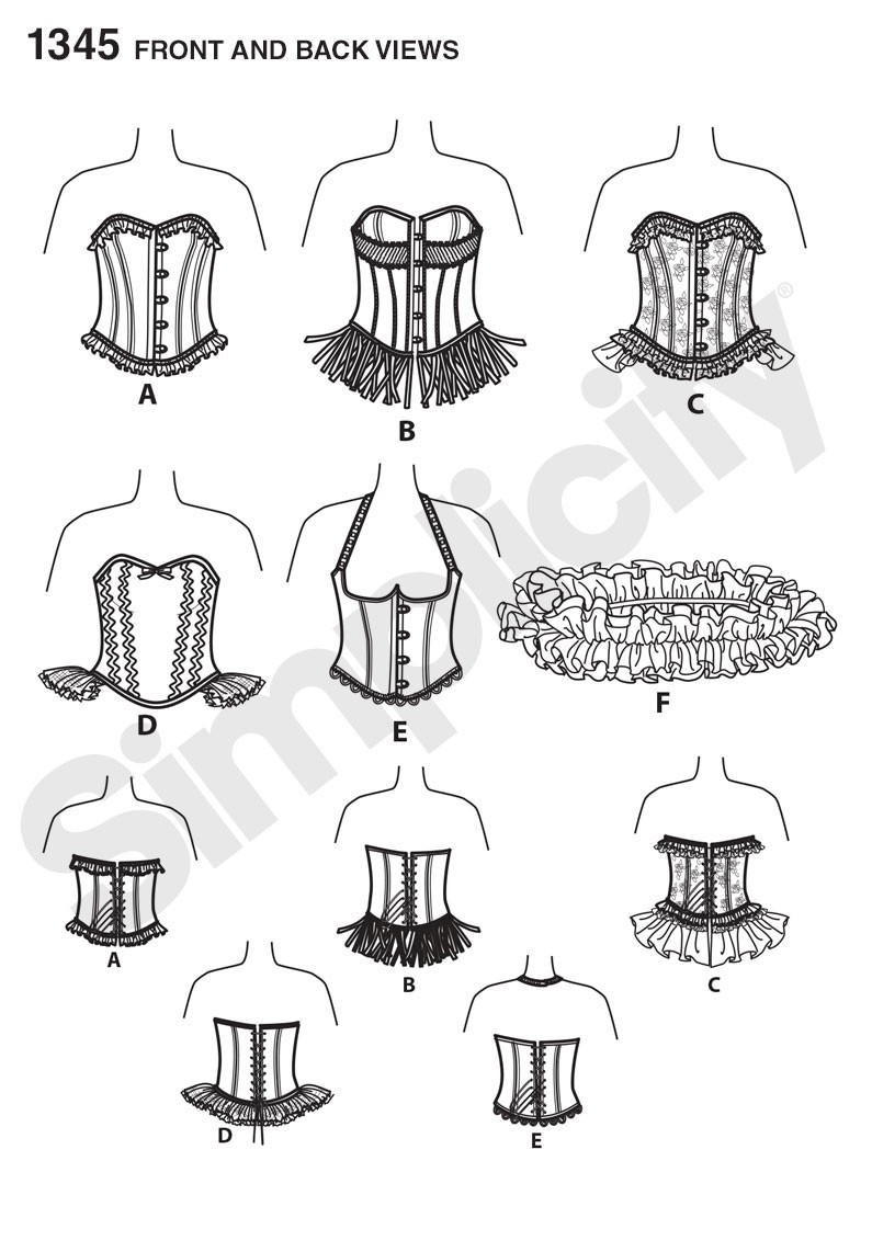 1345 Misses' Corsets and Ruffled Shrug