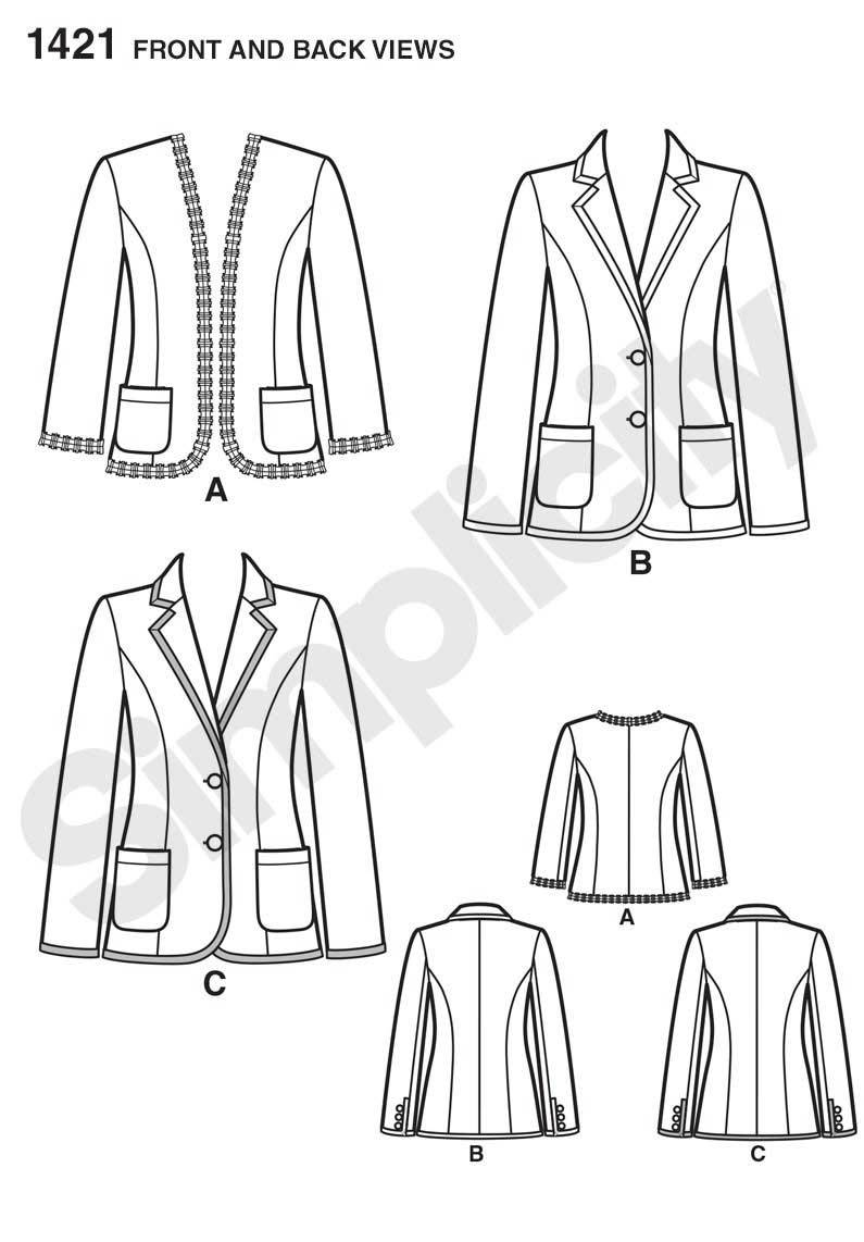 1421 Misses' Unlined Jacket with Collar and Finishing Variations