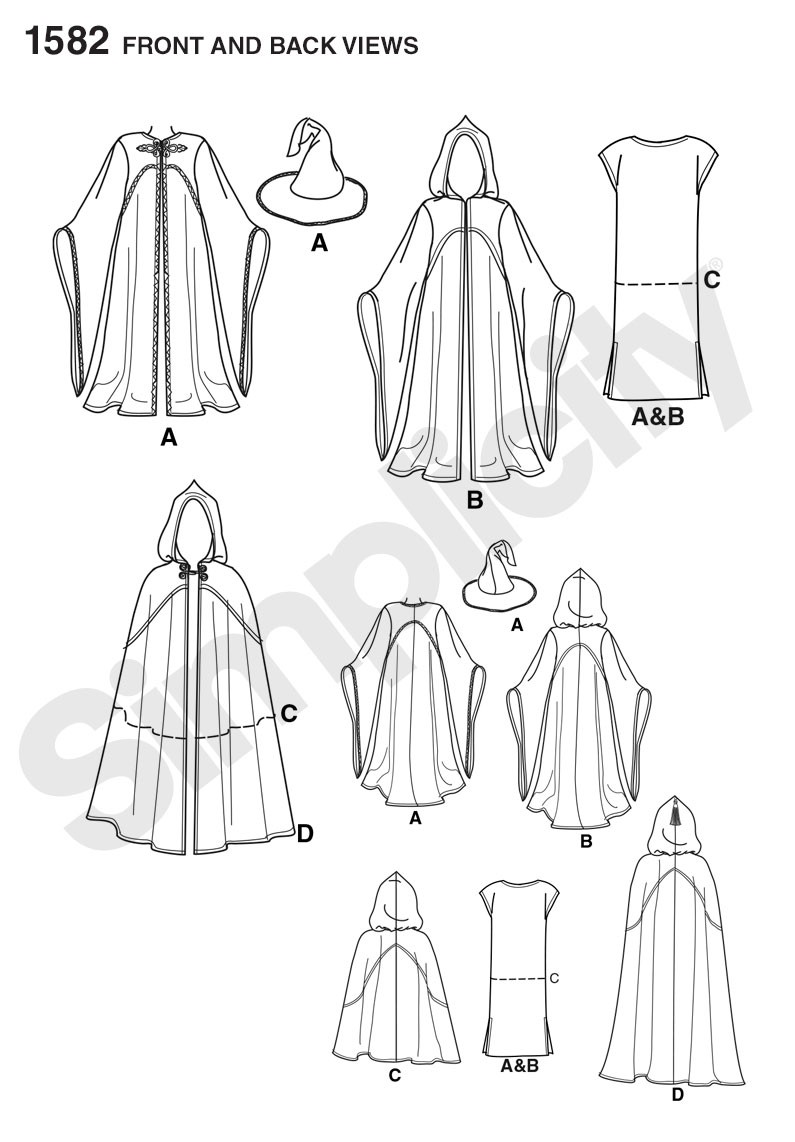 1582 Misses, Men and Teen Cape, Tunic and Hat